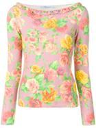 Blumarine Floral Print Top - Pink