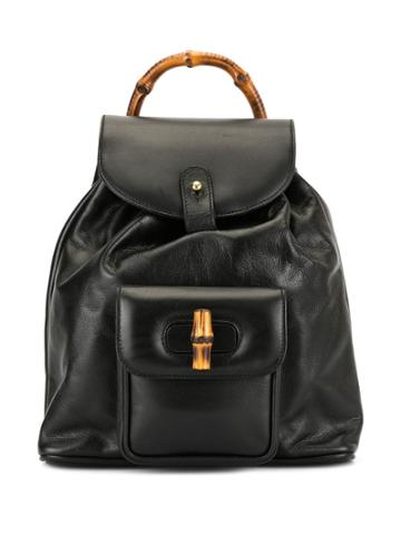 Gucci Pre-owned Bamboo Line Backpack Hand Bag - Black