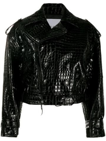 Attico Cropped Moto Jacket - Black