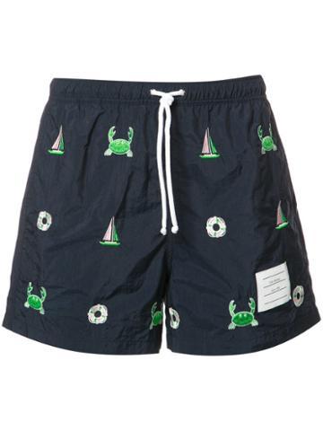 Thom Browne Printed Swim Shorts, Men's, Size: 2, Blue, Nylon