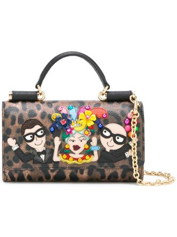 Dolce & Gabbana Mini Von Designer's Patch Crossbody Bag, Women's, Brown, Cotton/leather/calf Leather