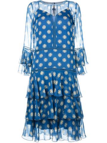 Alberta Ferretti Ruffle Dress With Keyhole Neckline, Women's, Size: 44, Blue, Silk