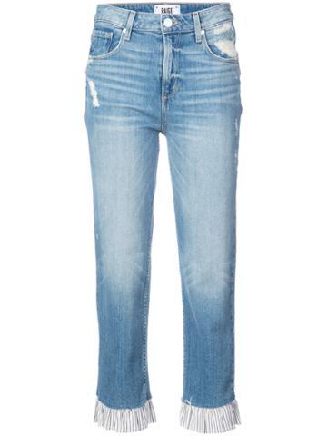 Paige Ruffle Trim Straight Leg Jeans - Blue