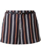 Loveless - Striped Belted Shorts - Women - Linen/flax/rayon - 34, Blue, Linen/flax/rayon