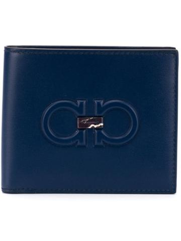 Salvatore Ferragamo Embossed Gancio Bifold Wallet - Blue