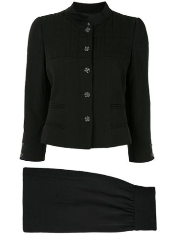 Chanel Pre-owned Choco Quilted Skirt Suit - Black