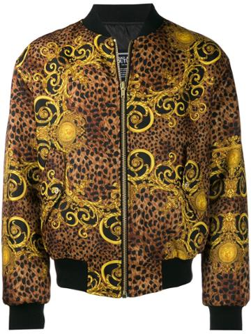 Versace Jeans Baroque Leopard Bomber Jackets - Black