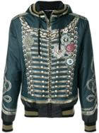 Dolce & Gabbana Military Print Hooded Bomber Jacket - Blue