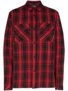 Marcelo Burlon County Of Milan Heart Wings Checked Shirt - Red