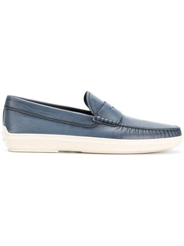 Tod's Distressed Penny Loafers - Blue