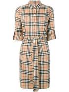 Burberry Ip Check Shirt Dress - Brown
