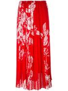 Fendi Printed Plumetis-chiffon Maxi Skirt - Red