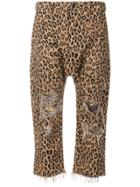 R13 Leopard Printed Cropped Trousers - Brown