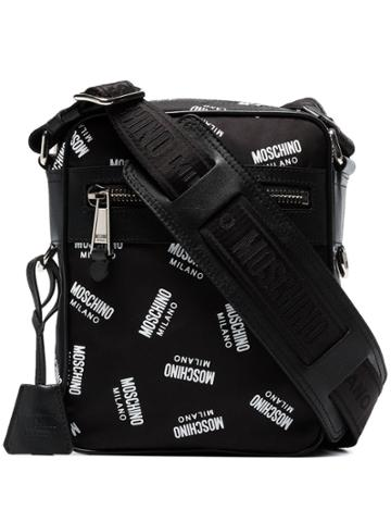 Moschino Black Logo Print Leather Trim Messenger Bag
