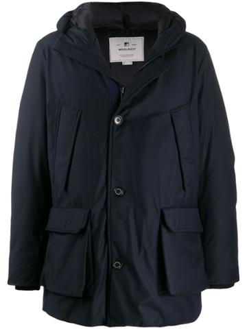 Woolrich Hooded Wool Coat - Blue