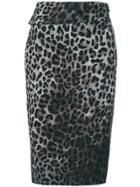 Tom Ford Leopard Print Wrap Skirt - Grey