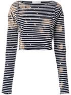 Faith Connexion Embroidered Striped Cropped Top - Blue