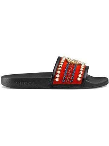 Gucci Velvet And Crystals Slide Sandal - Red