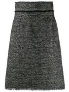 Dolce & Gabbana A-line Tweed Midi Skirt - Black