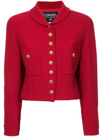 Chanel Vintage Clover Buttons Cropped Jacket - Red