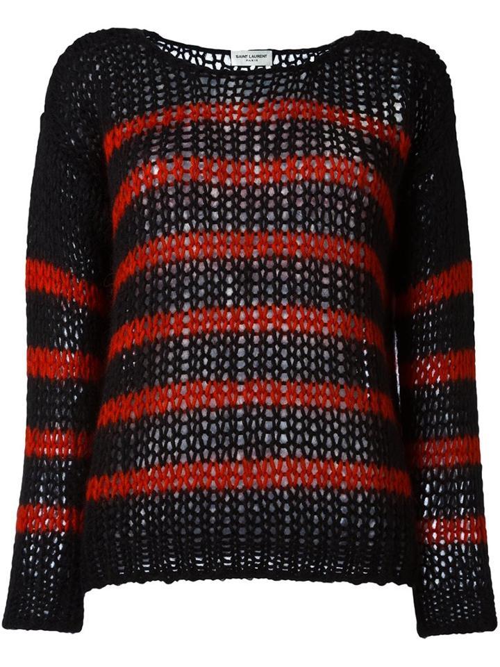 Saint Laurent Striped Open Knit Sweater, Women's, Size: Small, Black, Nylon/mohair/wool