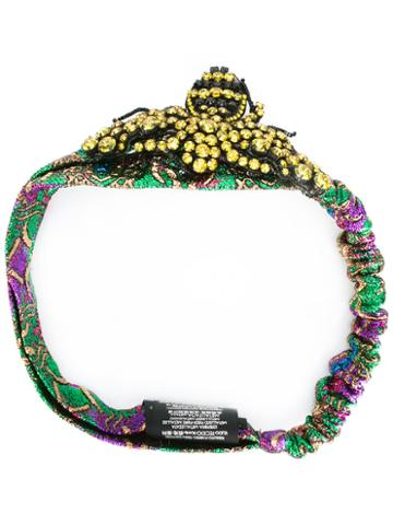 Gucci Crystal Bee Headband, Women's, Metallic Fibre/cotton/acrylic/polyamide