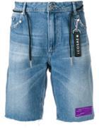 Icosae Studded Drawstring Denim Shorts - Blue