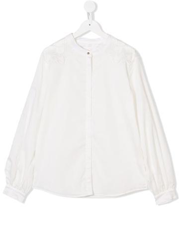Chloé Teen Guipure-detail Blouse - White