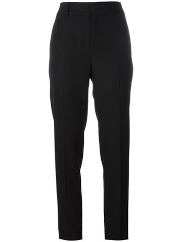 Saint Laurent - Cigarette Tailored Trousers - Women - Wool - 38, Black, Wool