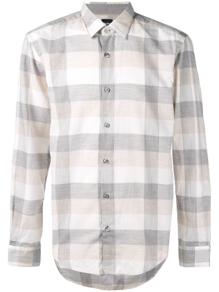 Boss Hugo Boss Checked Longsleeve Shirt - Grey