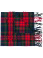 Burberry Distressed Checked Scarf - Red
