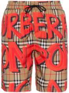 Burberry Graffiti Logo Check Print Swim Shorts - Brown