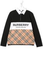 Burberry Kids Signature Check Polo Shirt - Neutrals