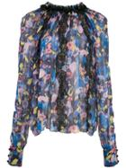 Jason Wu Collection Floral Print Sheer Blouse - Blue