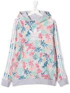 Adidas Kids Teen Floral-print Hoodie - Grey