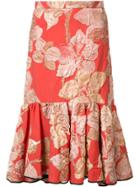 Tome Embroidered Flowers Pleated Skirt