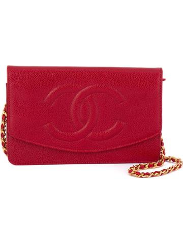 Chanel Vintage Logo Detail Wallet Crossbody Bag - Red