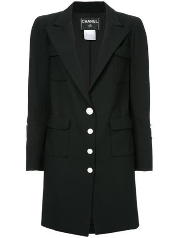 Chanel Vintage Peaked Lapels Midi Jacket - Black