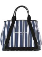 Balenciaga - Striped Tote - Women - Cotton/leather/canvas - One Size, Women's, Blue, Cotton/leather/canvas
