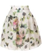 Marchesa Floral-print Skirt - White