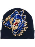 P.a.r.o.s.h. Sequin Embroidered Beanie - Blue