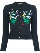 Muveil Floral Embroidered Cardigan - Blue