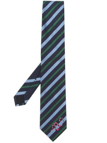 Gucci Striped Kingsnake Tie - Blue