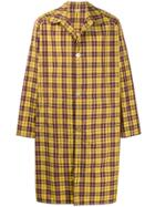 Gucci Logo Print Checked Trench Coat - Yellow