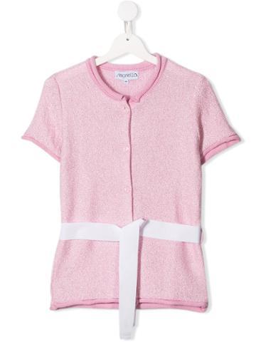 Simonetta Belted Bouclé Top - Pink
