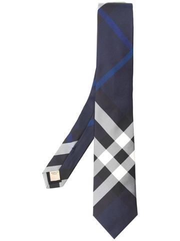 Burberry Checked Print Tie - Blue