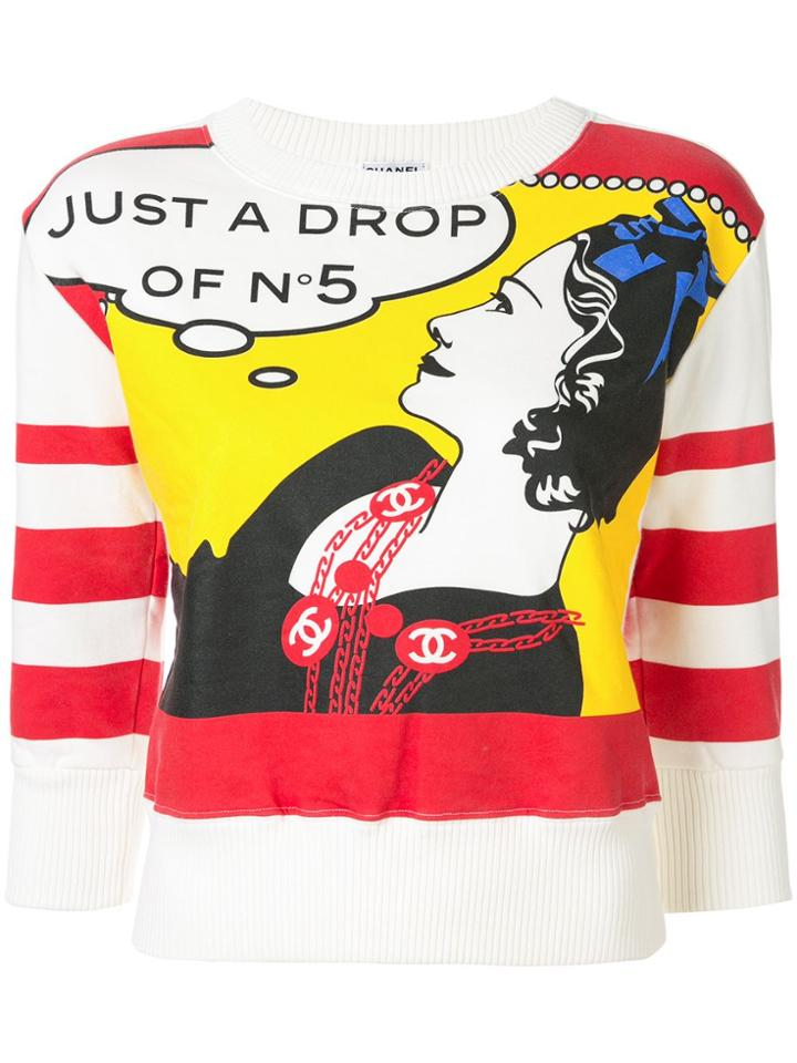 Chanel Pre-owned Cc Mademoiselle Print Top - White