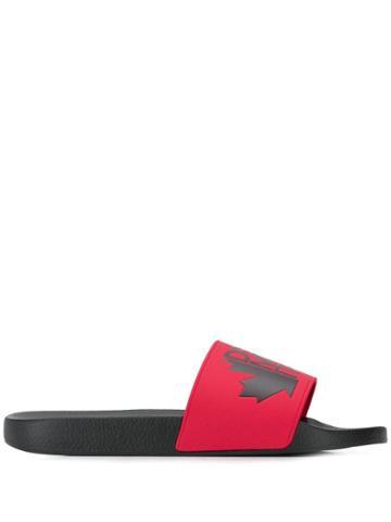 Dsquared2 Logo Contrast Strap Slides - Black
