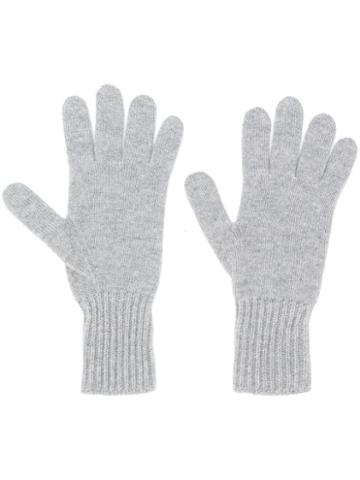 Pringle Of Scotland Ribbed Cuffs Knitted Gloves - Grey