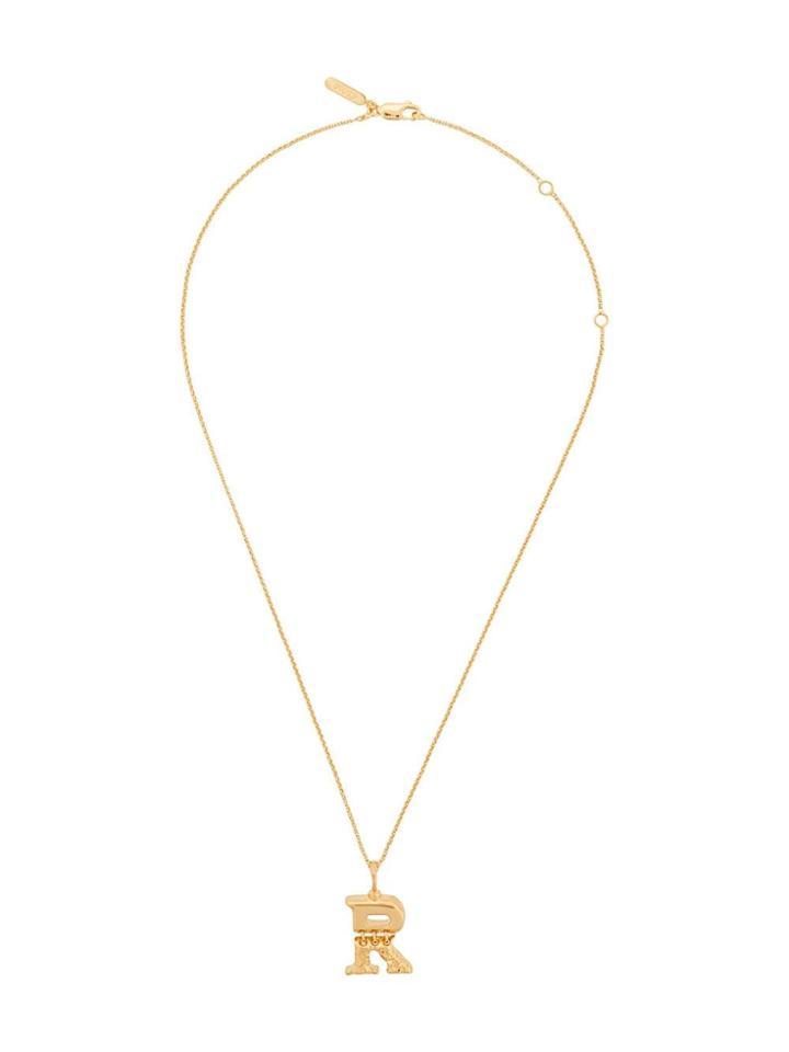 Chloé Letter R Pendant Necklace - Gold